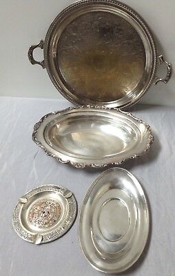Lot of 3 Silverplated Dishes Serving Trays 1 Ashtray