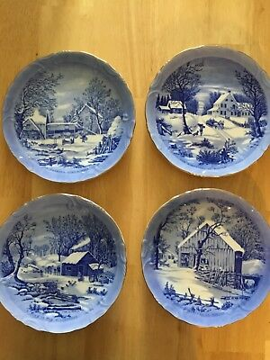 4 Vintage Currier and Ives 8 inch Blue Decorative Plates & CURRIER AND Ives Decorative 8 1/4