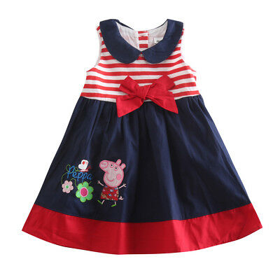 Peppa pig toddler girls sailor navy red strips summer party dress (12M-4Years)