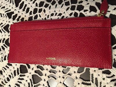 LODIS  Red Leather Slim Wallet and Credit Card Holder Zip Top Closure