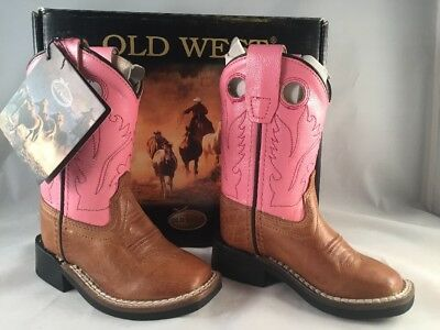 7f2991fd275 NEW OLD WEST Pink/Tan Toddlers Leather Western Cowboy Boots Size 4