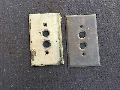 2 Vintage Antique Single Push Button Wall Light Switch Plate Cover