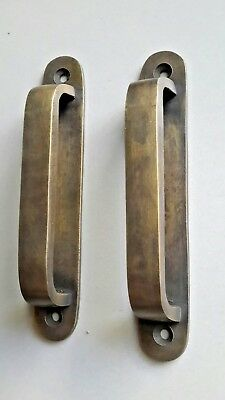 2 lg. Antique Brass Trunk Handles strong Travel Case Cabinet Tool Chest Box #P14