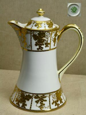 "Antique JAPANESE NIPPON PORCELAIN 9"" CHOCOLATE POT, GOLD MORIAGE (NORITAKE)"