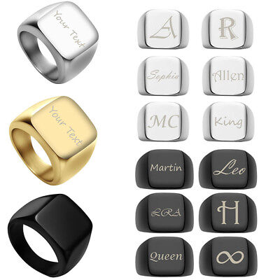 Personalized Engraving Men's Solid Polished Signet Stainless Steel Finger Ring