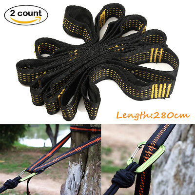 2x 2.8m Hammock Straps Tree Strong Nylon Heavy Hanging Belt Rope Camping Outdoor