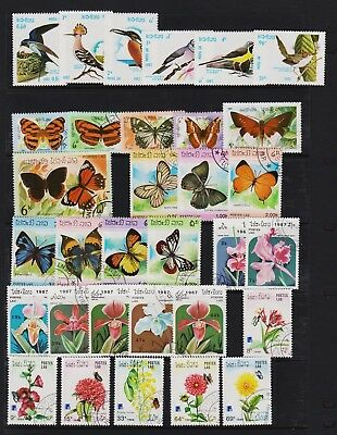 Laos - Birds, Flowers, Butterflies - topical stamp sets