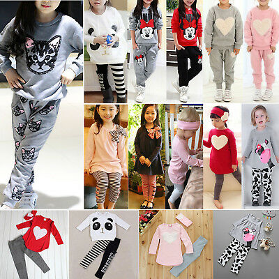2PCS Kids Baby Girls Tracksuit Long Sleeve Tops T-shirts + Pants Outfits Set AU