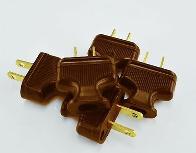 Brown - 5-Pack - Vintage Antique Style Electrical Plug - Lamp Cord - Lot Plugs