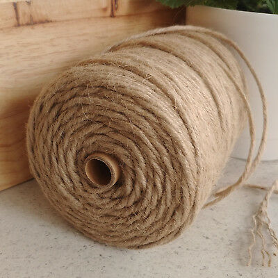 6-PLY 4mm Natural Jute Hessian Twine Cord String Ribbon DIY Decor Macramé 200m