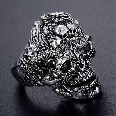 Men's Stainless Steel Silver Fashion Cool Punk Skull Finger Rings Jewelry Nice