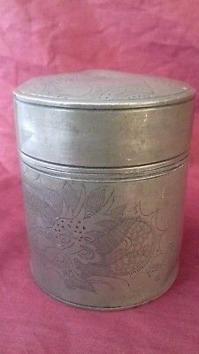 """Antique Chinese Pewter Tea Caddy Kut Hing Swatow 9.5 cm 3.75"""" Dragon Marked"""