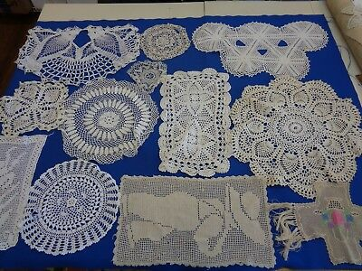 Mixed Lot  Of 12  Assorted Vintage  Crochet Doilies Flaws