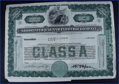 1934 Associated Gas & Electric Co. 6 Shares Class A Stock Certificate