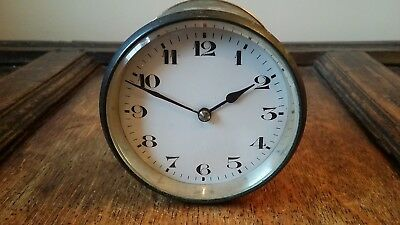 Antique French Brass Cased Drum Clock Insert 8 Day Balance - Good Working Order