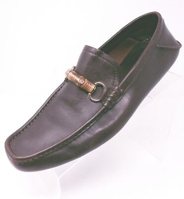 52d9e9ce736 Men s Gucci Bamboo Horse Bit Driving Loafer Size 10.5 Brown Leather Slip On  NICE