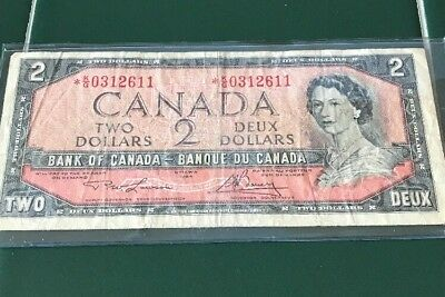 Bank Of Canada 1954 Two Dollar $2 Bill Note K/G 0312611 Replacement Circulated