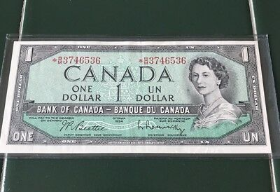 Bank Of Canada 1954 One Dollar $1 Bill Note B/M 3746536 Replacement Circulated