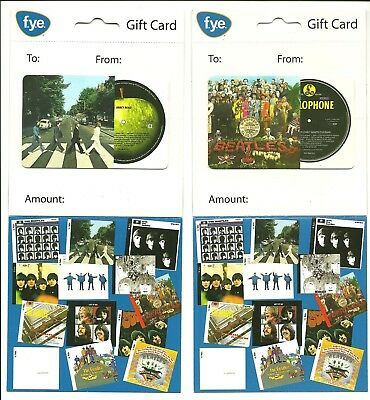 Lot /2 Diff FYE Beatles Gift Cards No $ Value Collectible Sgt Pepper Abbey Road