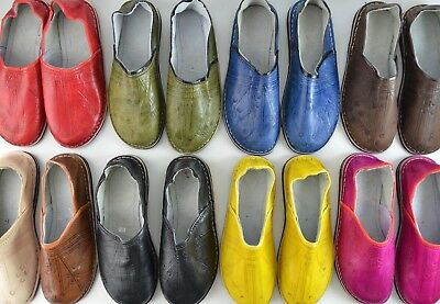 Mens Womens Moroccan Leather Babouche Slippers Shoes Mules Loafers *handmade*