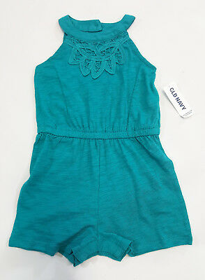 NWT Girl Old Navy Size 12 18 24 Months Teal Crochet Neck Open Back Shorts Romper