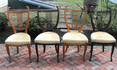 Antique Set of 4 Rare Fancy Scroll Harp Back Chairs