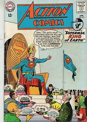 Action Comics # 311 / V.good+ / Dc 1964 / Superman King Of Earth / Supergirl.