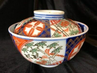 "RARE Antique  6"" Edo 1800s Ko Imari Lidded Bowl Japanese Porcelain"