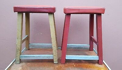 Pair of really nice strong old stool with red tops
