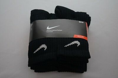 Nike Performance Cotton Crew Socks 6-Pair Youth Size M-L New with Tag SX4456 001