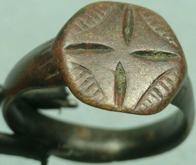 Byzantine Bronze Shield Ring, Haloed Cross