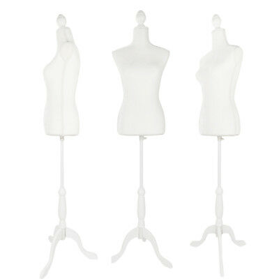 Female Torso Mannequin Clothing Dress Form Shop Display W/ White Tripod Stand