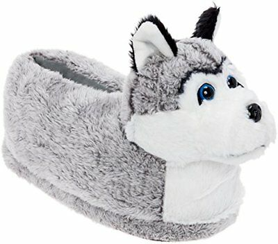 Silver Lilly Siberian Husky Slippers Dog w/Platform by Grey/White/Black X Large