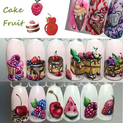 18X Summer Ice Cream Fruit Cake Nail Art Water Transfer Sticker Manicure Decal