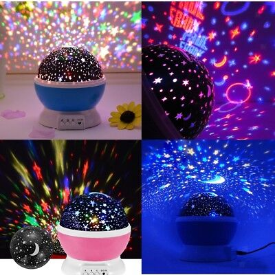 Children Kids LED Rotating Projector Starry Night Lamp Star Sky Projection Light