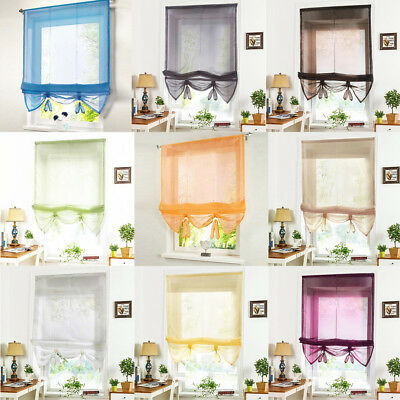 Solid Color Sheer Window Drape Roman Curtains Tie Up Shade for Bedroom - 1 Panel