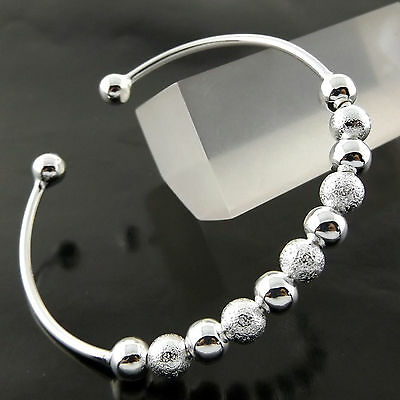 Bangle Cuff Bracelet Genuine Real 925 Sterling Silver S/f Solid Bead Ball Design