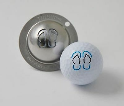 1 only TIN CUP GOLF BALL MARKER- FLOP SHOT (THONGS) & YOURS FOR LIFE