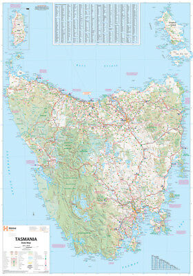 """MAP OF TASMANIA laminated POSTER """"LARGE"""" 70cm X 100cm """"ROAD GUIDES NEW"""