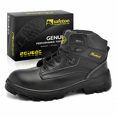 Safetoe Mens Safety Work Boots Shoes w' Steel Toe Cap Black Leather Upper US