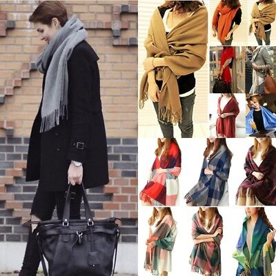 Women's Men's Cashmere Scarf Winter Warm Solid Long Pashmina Shawl Wrap Scarves