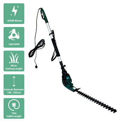 Charles Bentley 450W Corded Electric Telescopic Hedge Trimmer With 46cm Blade