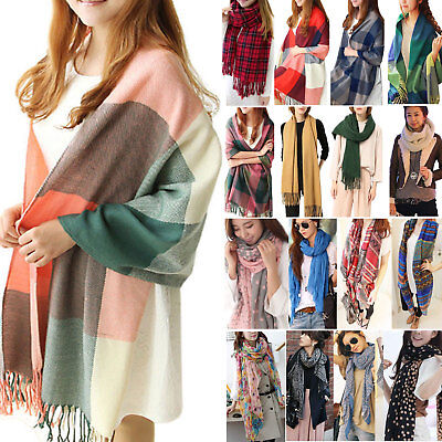 Women's Men's Plaid Solid Long Cashmere Pashmina Scarf Wrap Shawl Tassel Stole