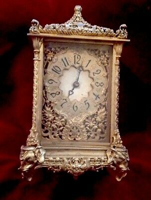 Antique French 8 Day Ormolu Bronze Carriage Clock Elephant Feet