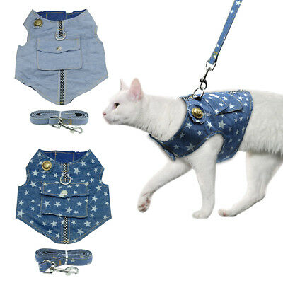 Cat Walking Jacket Harness & Lead Pet Puppy Kitten Denim Clothes Adjustable Vest