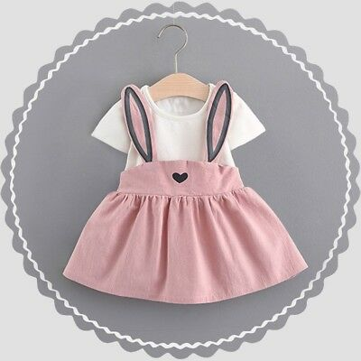 Toddler Kids Baby Girls Summer Short Sleeve Outfits Clothes Skirt Dress Set New
