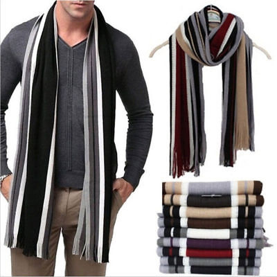 Women's Men's Classic Cashmere Shawl Warm Long Fringe Striped Tassel Wrap Scarf