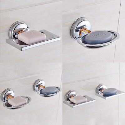 New Stainless Steel Soap Dish Wall Mounted Holder Suction Cup Bathroom Tray 1pc