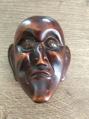 Antique Japanese Noh Small Exquisitely Carved Wooden Mask