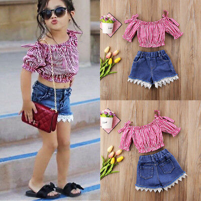 Toddler Kids Girls Stripe Tops Blouse Lace Denim Shorts Outfits Fashion Clothes